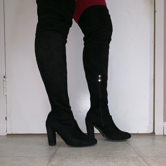 Thigh-high faux suede boots with inner zipper